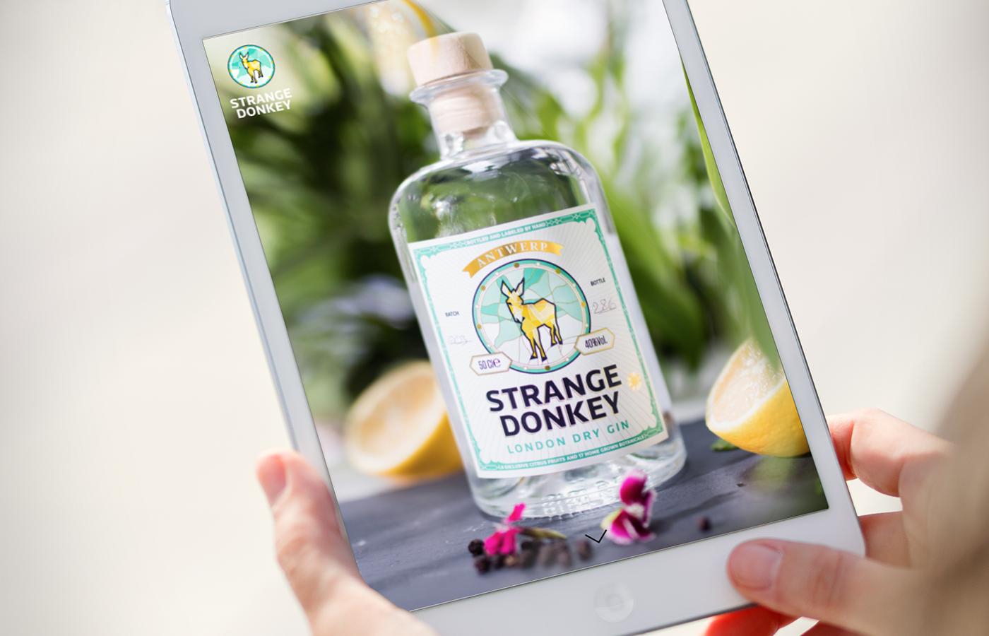 Website of Strange Donkey on tablet