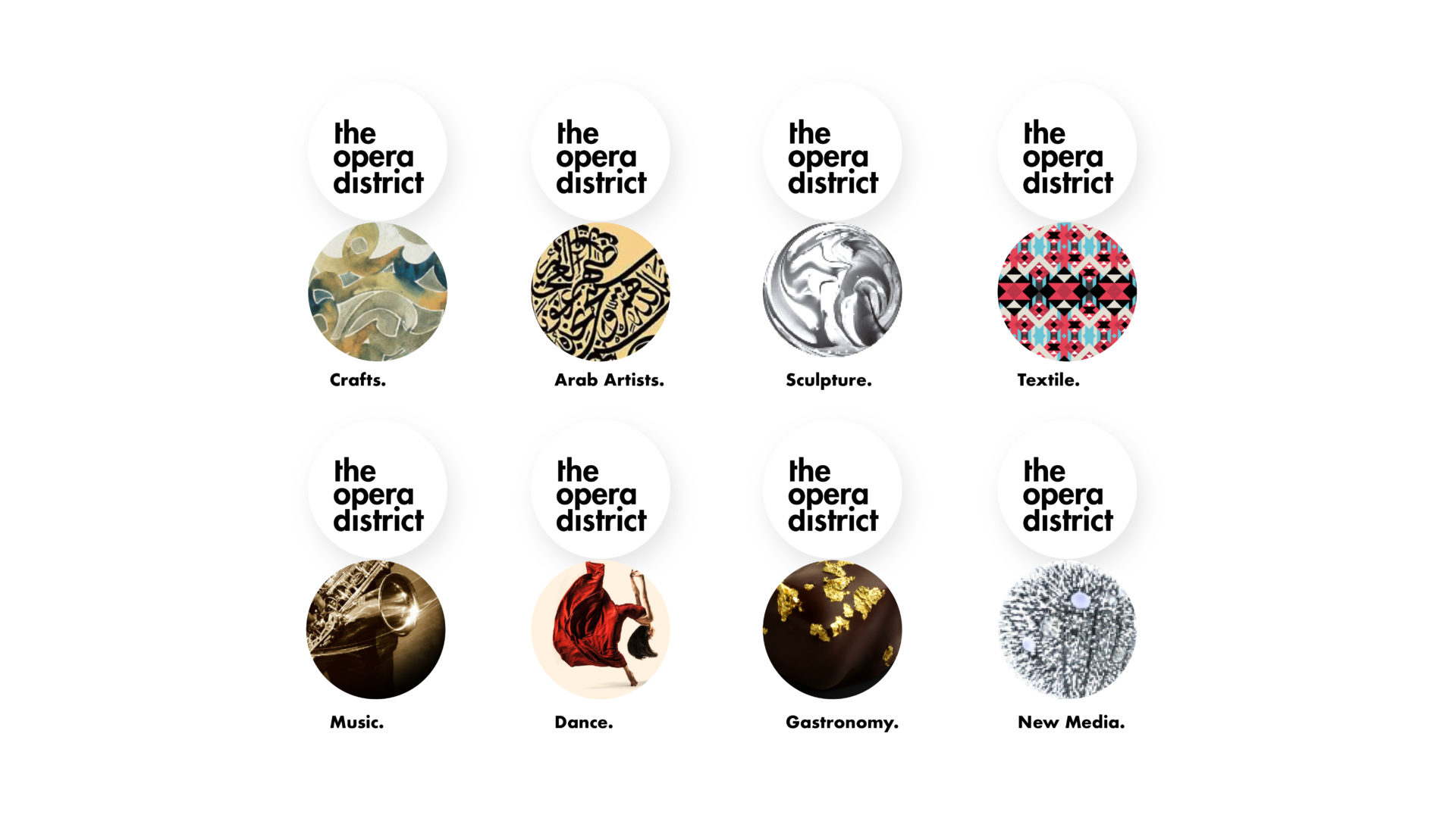 Different themes for the Opera District, all in a circular shape