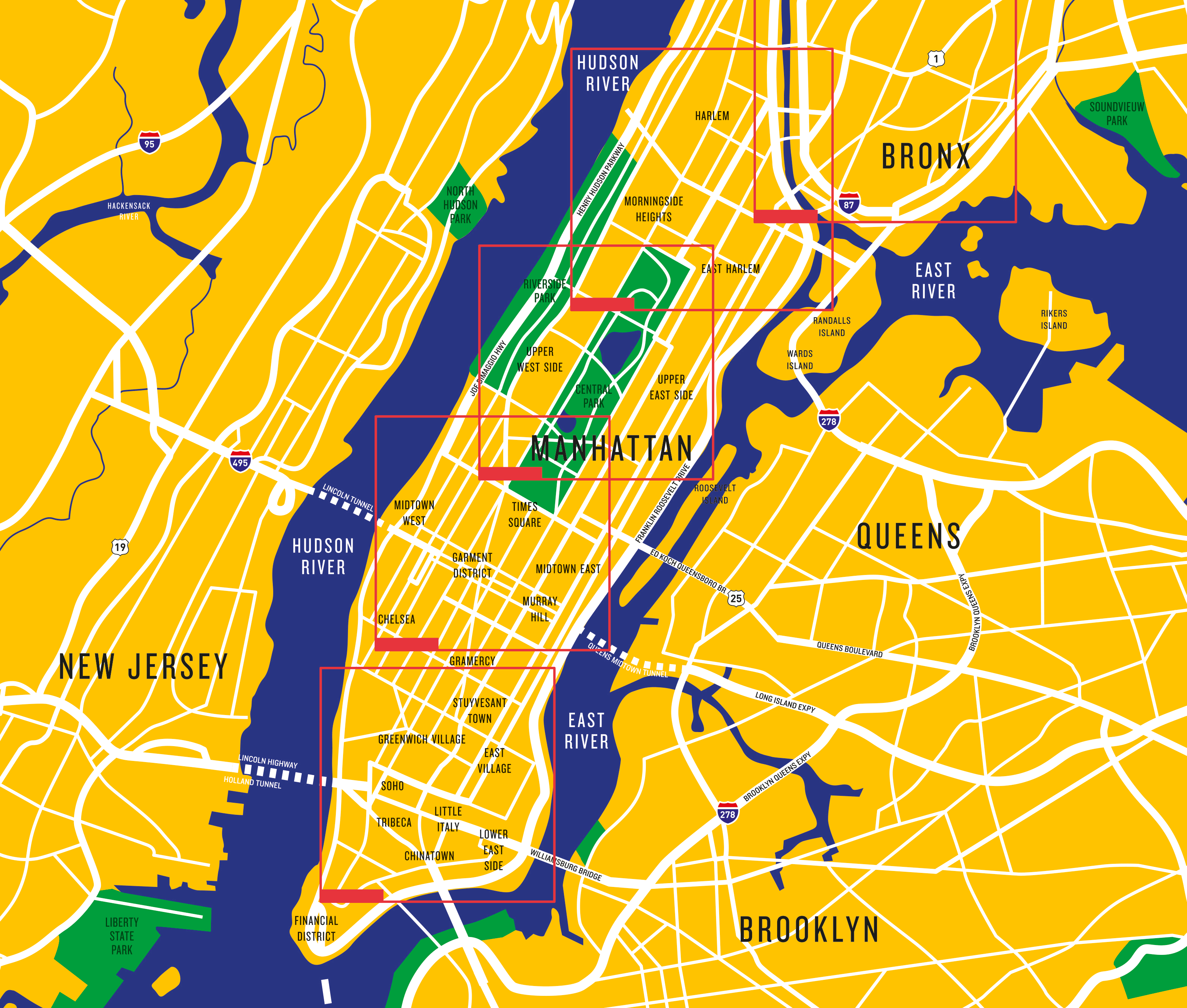 Map of different areas in NY
