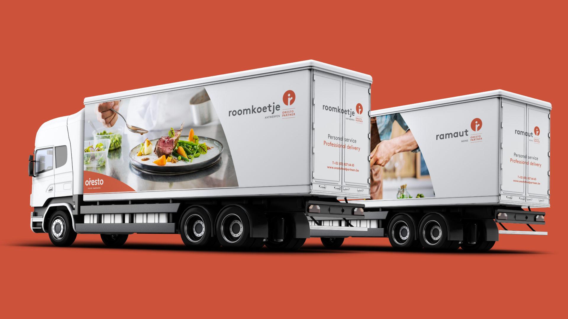 Trucks with branding of Oresto