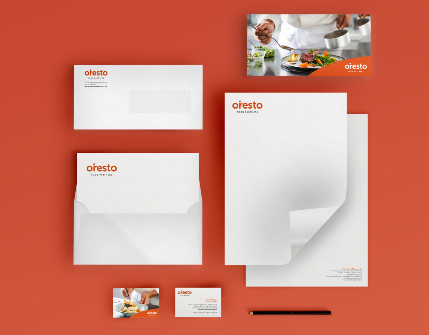 Various stationary designed for Oresto Food Partners