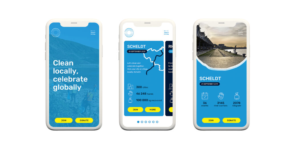 River Cleanup branding was extended to a user-friendly app