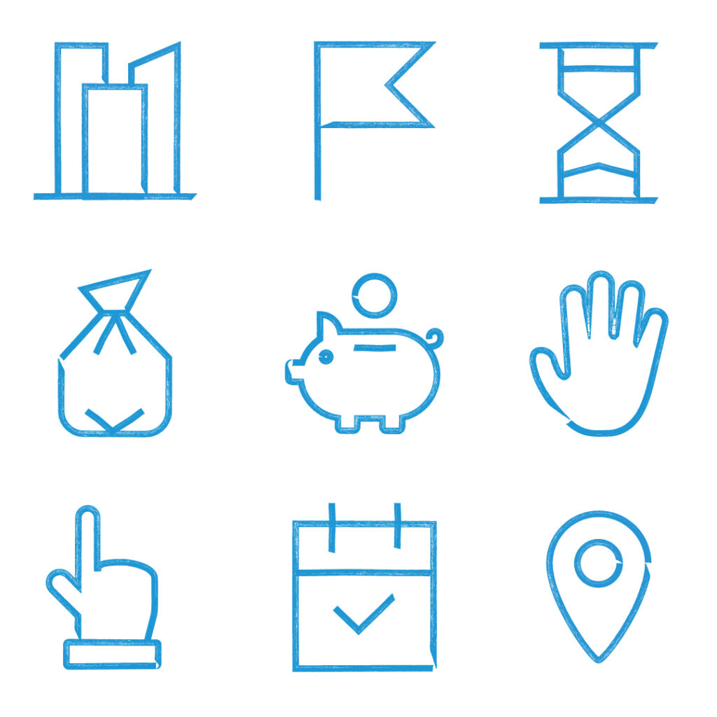 River Cleanup branding: energising icons